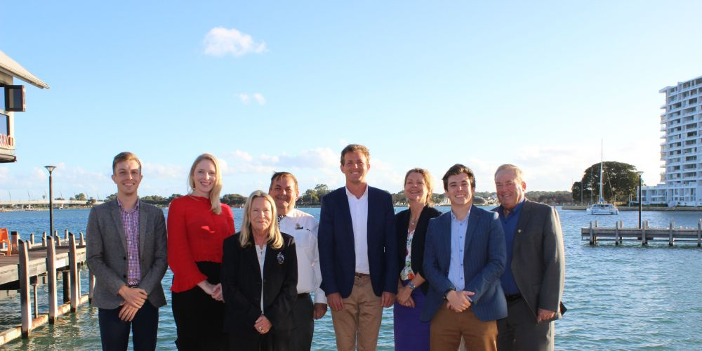 Mandurah City councillors on the waterfront - Matt Rogers, Tahlia Jones, Lyn Rogers, Merv Darcy, Mayor Rhys Williams, deputy Mayor Caroline Knight, Peter Rogers and Fred Riebeling.