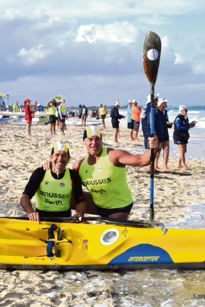 Mullaloo SLSC double ski team Neil Forbes and Mark Hopper. Picture: Max Wannell