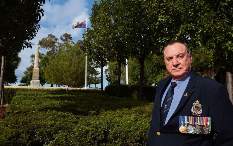 Wanneroo RSL member Peter Tuck reflects on those he served with ahead of Anzac Day. Picture: Martin Kennealey.