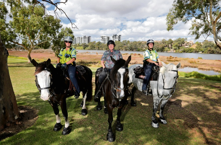 Senior Constable Cathy Hill with police horse Mance, Lisa Baker MLA with police horse Lieutenant Dan and Senior Constable Kristy Stephen with police horse Bluey at the Maylands Foreshore Reserve. Picture: David Baylis www.communitypix.com.au   d481815