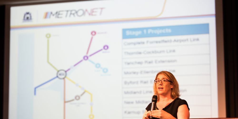 Transport Minister Rita Saffioti at a forum for the Ellenbrook line.