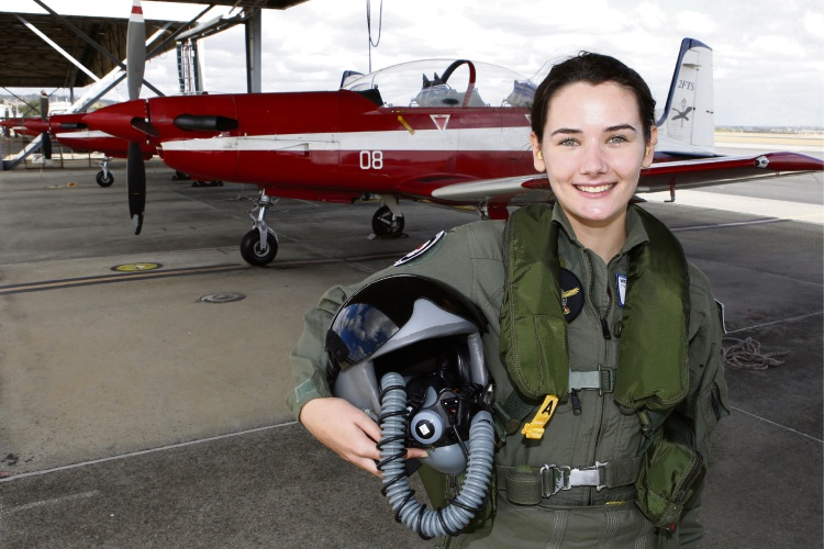 Ruth Staer (17) of Hazelmere at the Air Force Flight Camp for Young Women at RAAF Base Pearce.