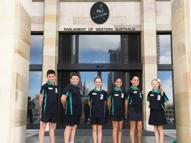 Halls Head Primary School student councillors outside Parliament House.