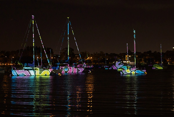 A projection-based installation like this one will turn a boats into pieces of art in June. Picture: City of Melville