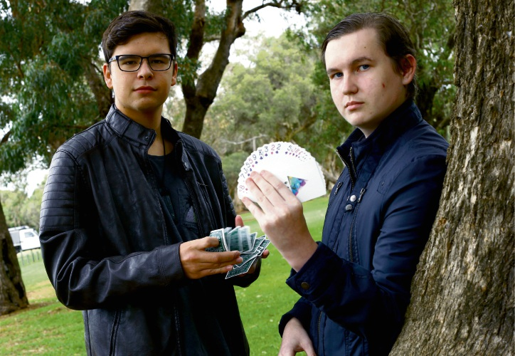 CK Magic, otherwise known as Kristian Giles and Caleb Prince, are performing at the City of Wanneroo's Youth Market in Girrawheen. Picture: Matt Jelonek.