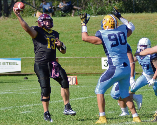 WA Raiders quarterback Ben Gastarov helps lead the team's comeback against New South Wales. Picture: Greg Rigby Sports Photos