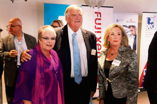 Belmont Business Enterprise Centre chief executive Carol Hanlon, incoming WA Governor Kim Beazley and Belmont BEC patron Louise Percy at the launch of the Belmont and Western Australian Small Business Awards. Picture: Leon Tang/FotoFactory
