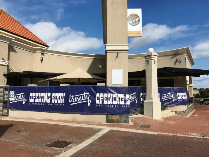 Varsity Bar is under construction at the former Old Bailey site in Joondalup.