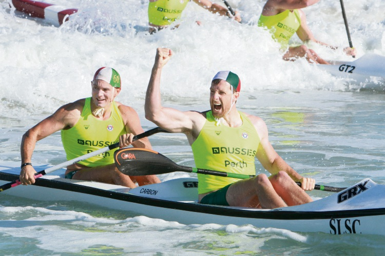 Trigg Island's Reece Baker (front) and Daniel Humble celebrate winning the open male double ski.