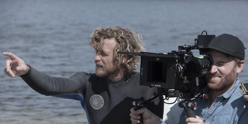 Simon Baker on the set of Breath.