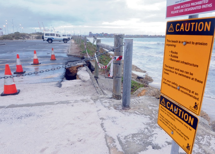 A moderate shift in wind and waves has eroded the Port Beach car park over the weekend.  Pictures: Jon Bassett
