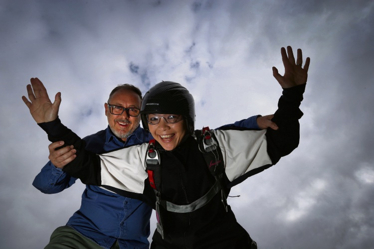 Hale School teachers Andrew Manley and Su-Lyn Chong will skydive on to the school oval on May 5 to raise money for charity. Picture: Andrew Ritchie d481772
