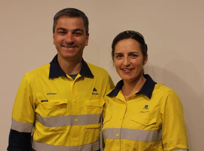 Alcoa Huntly mine manager Affonso Bizon with Earthwatch Fellow Erika Branski.