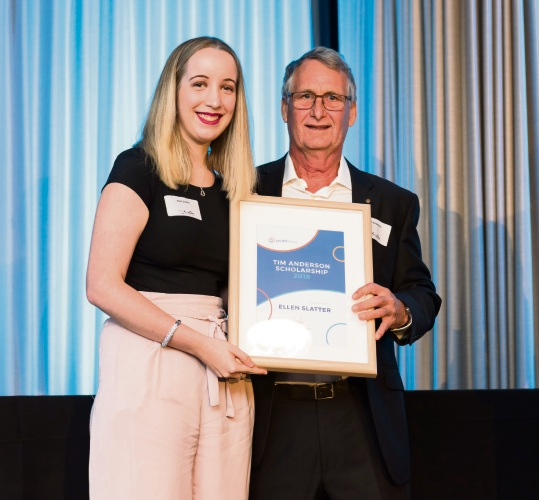 Tim Anderson Scholarship winner Ellen Slatter (Carine) with Ian Anderson (Tim's father).