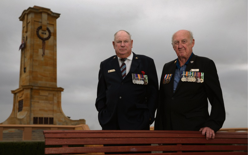 Vietnam War veterans Les Butt and Brian Firns, from Fremantle RSL sub-branch. Picture: Martin Kennealey    d481701