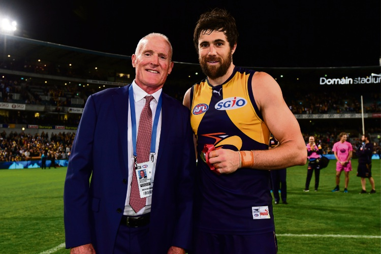 West Coast forward Josh Kennedy poses for a photo with Ross Glendinning after being named best on ground during the round 6 clash with Fremantle in 2017. Picture: by Daniel Carson/AFL Media/Getty Images