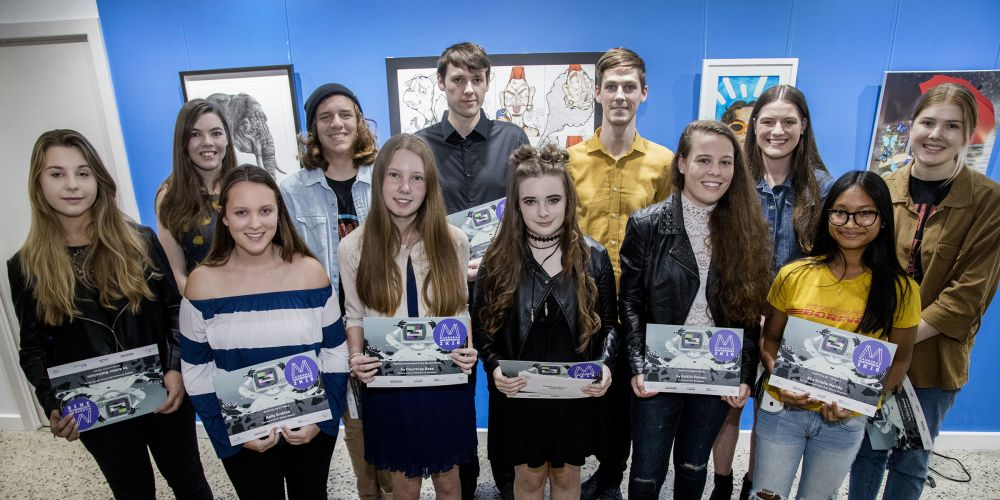 The talented young artists behind the Masterpieces 2K18 art awards. Photo: Roz D'Raine