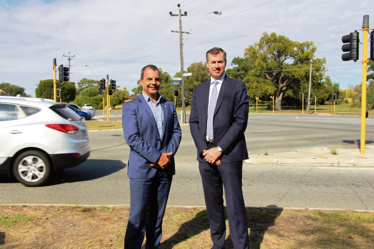 Stirling Mayor Mark Irwin and Stirling MHR Michael Keenan at the Hamersley intersection to be upgraded.