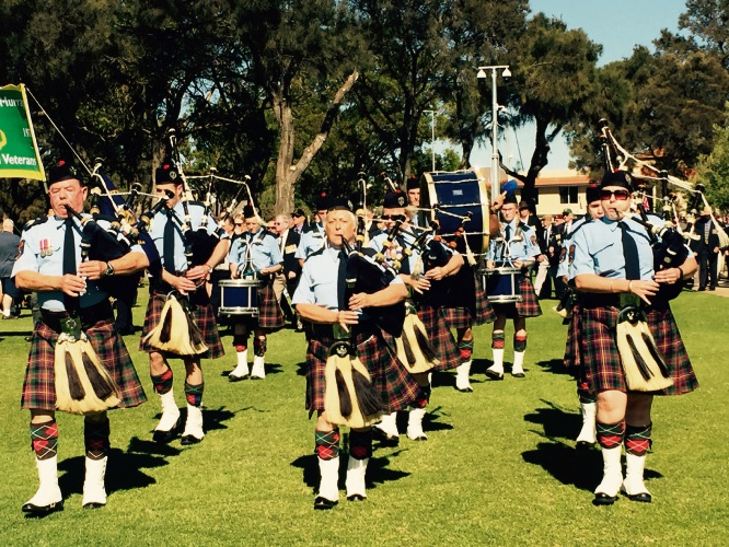 Pipe bands were a feature of the parade.