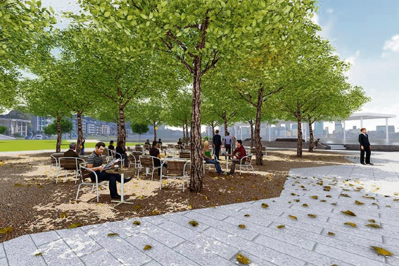 Artist impression of the Bosque and piazza areas included in stage one of the Connect South Masterplan.