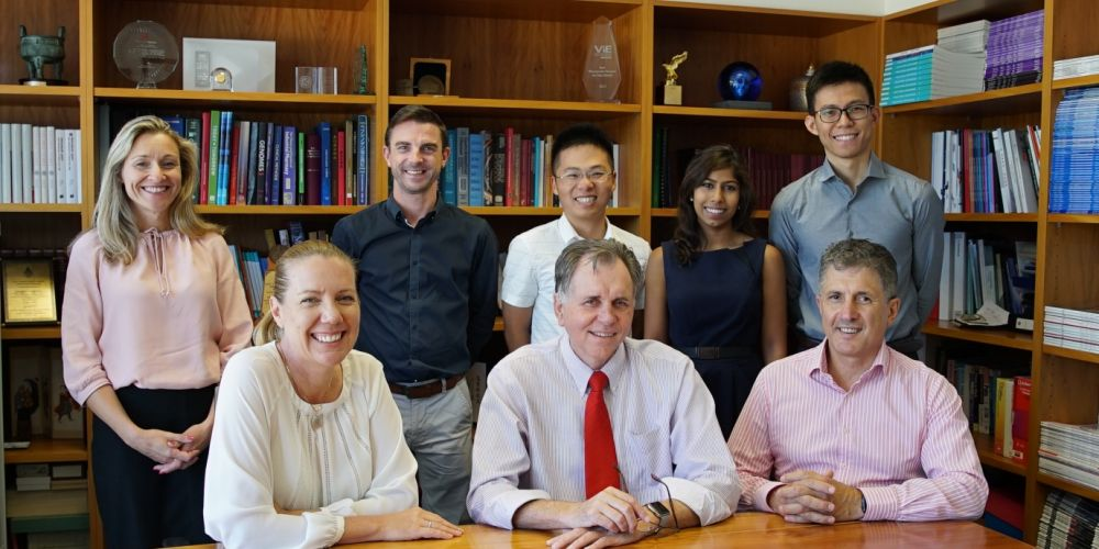 Dr Mary Webberley (left back), Dr Gary Allwood, Dr Robert Wan, Dr Andrisha Inderjeeth, Dr Peter Du, Dr Josephine Muir (front left), Prof Barry Marshall and Assoc. Prof Adam Osseiran.
