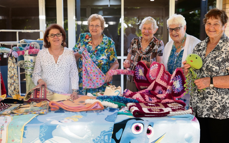 Rhonda Duijckers, Pauline Ellyard, Laurel Spinks, Fay Featherstone and Trish Pitcher from Hugs and Stiches Craft Group. Picture: Martin Kennealey d482119