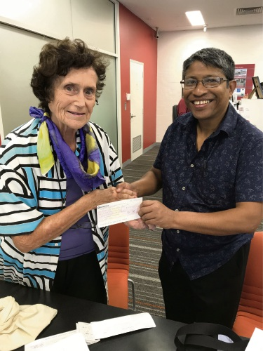Peel SeniorNet former president Kate Orr with Peel Preservation Group treasurer Ahmed Zilani.