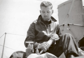 Reg Sharpe in service during the Korean War. Below: Mr Sharpe after |receiving his medal.