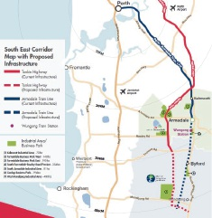 The City of Armadale and Shire of Serpentine-Jarrahdale's proposed train line extension route (blue). Picture: South East Link advocacy document
