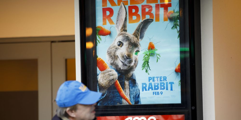 Peter Rabbit movie poster. Picture: Patrick T. Fallon/Bloomberg via Getty Images
