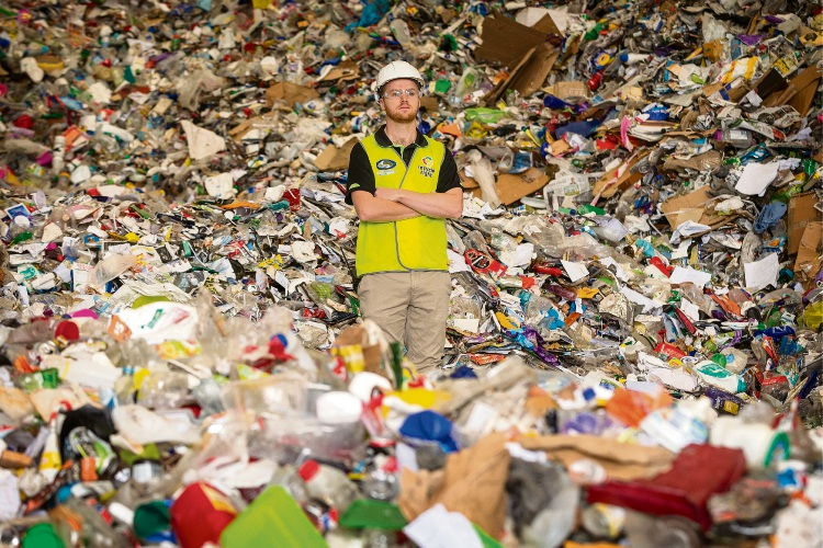 SMRC employee Patrick Hay at the Materials Recovery Facility in Canning Vale.