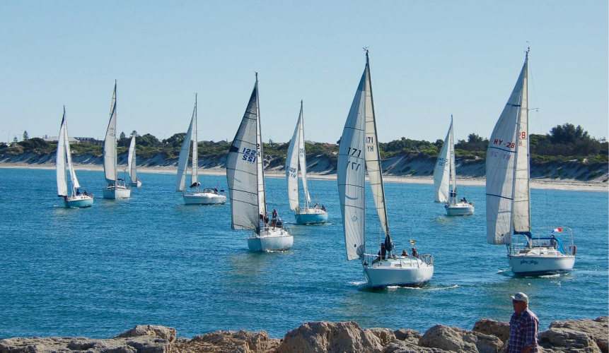 Divisions 2 and 3 line up for the start of Hillary's Yacht Club's Diggers' Cup.
