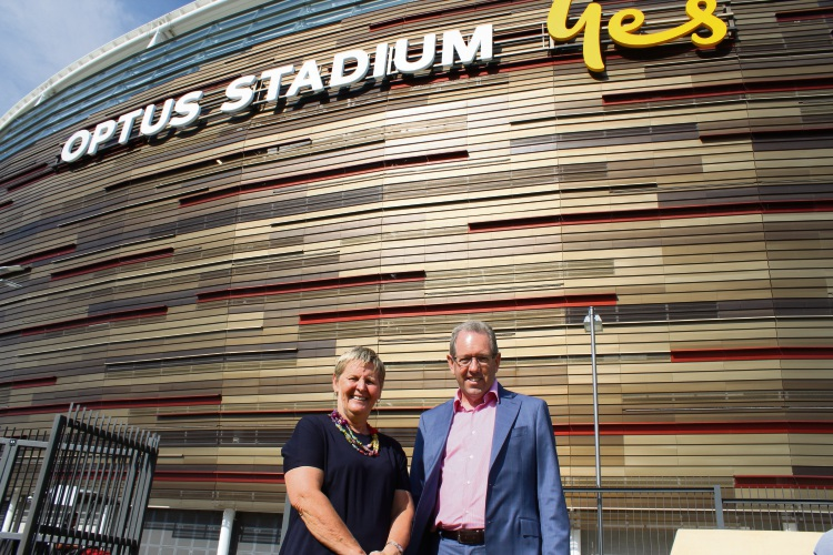 WACA chief executive Christina Matthews with Optus Stadium chief executive Mike McKenna. Picture: Bryce Luff