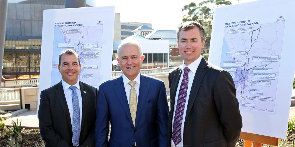 Mark Irwin (City of Stirling Mayor), Prime Minister Malcolm Turnbull and Michael Keenan MP (Member for Stirling) at the major jobs and infrastructure boost for WA announcement at Yagan Square in Perth.  Picture: David Baylis d482222