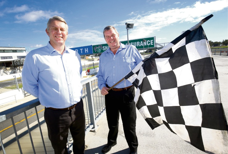 WA Sporting Car Club general manager Andrew Stachewicz and president Russell Sewell. Picture: Matt Jelonek d481721