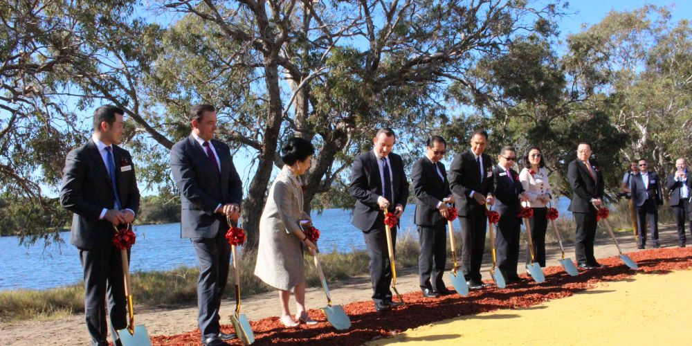 Premier Mark McGowan joins in the sod-turning ceremony.