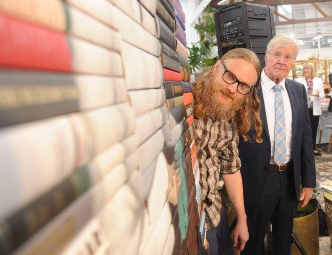 Los Angeles-based artist Mike Stilkey and Claremont Mayor Jock Barker. Picture: Jon Bassett