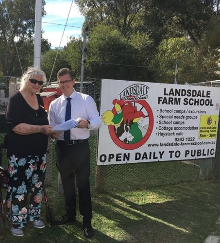 Lead petitioner and former Wanneroo councillor Maureen Grierson and North Metropolitan MLC Tjorn Sibma at Landsdale Farm School.