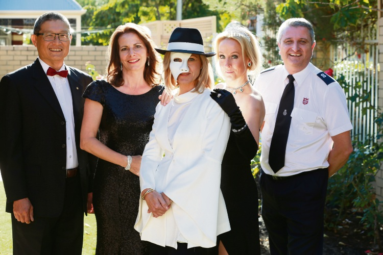 Wesley Sim (Rotary City of Perth),Karin Borzel (National Rep Path of Hope), Sarah-Jane Sharp (Chair Gala Ball Commitee), Rebecca Tolstoy (Chair Path of Hope) and Warren Palmer (PR/Secretary Salvation  Army) for a upcoming fundraiser of the Opera theme. Picture: Andrew Ritchie www.communitypix.com.au   d482322