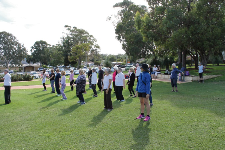 People gathered in Wanneroo for World tai Chi and Qigong Day. Picture: Stewart Gillett