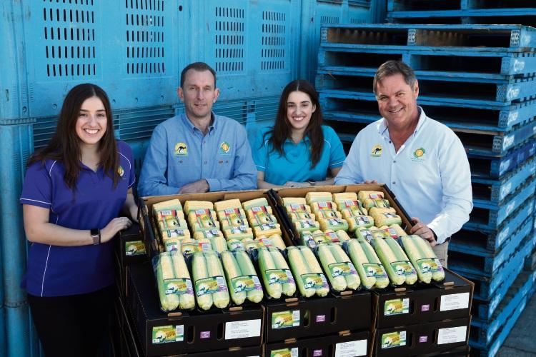 WA Corn Growers staff Stephanie Matthews, Lloyd Williams , Alanna Matthews and Jim Trandos. Picture: Martin Kennealey d482305