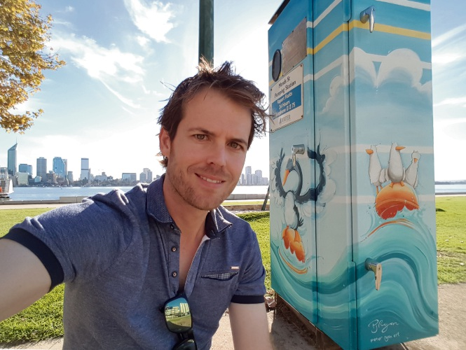 Mullaloo artist Peter Ryan transformed a cabinet in South Perth.