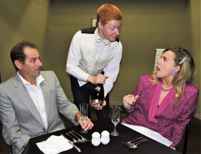 Alan Shaw, Andrew Lee and Jennifer McGrath on stage at the Garrick for <i>100 Lunches</i>.