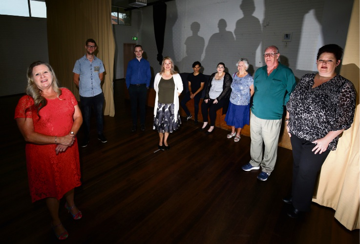 President Diane Campbell, Alex Halse, Liam Gobbert, Vicky Williams, Taariq Angus, Sylvia Messiah, Vera Jowett, Bob Charteris with Sharon Wigley at Padbury Hall, letting the community know they need more theatre members and a new theatre. Picture: Matt Jelonek.