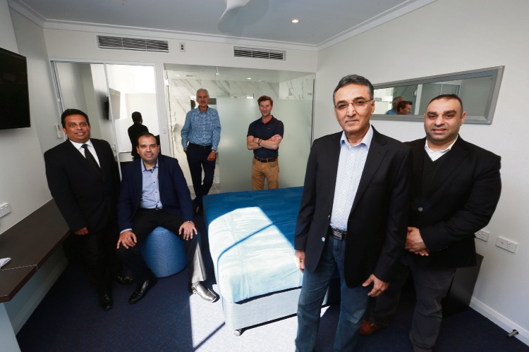 L-R Arith Ratnawibhushana (GM Great Southern Hotel Perth), Syed Irfan (Group FC Acostay), Michael Dryka (Director Michael Dryka Architect's), Mark Hughes (Director Bauen Projects), Abdul Ghaffar (owner GMT Hotels) and Robbie Owaijan (Group GM Acostay). Photo: Andrew Ritchie