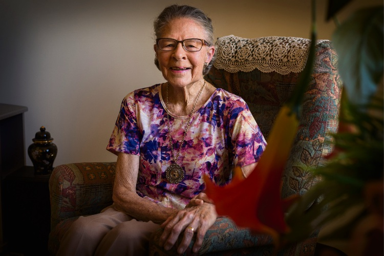 97-year-old Eldred Klemm who was the first female employee at HBF. Photo: Will Russell