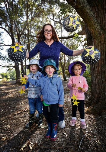 Tracey Salsman at Whatever The Weather Family Day Care with Harvey Salsman (3), Alara Aysa (3) and Hayden Johnston. Photo: David Baylis