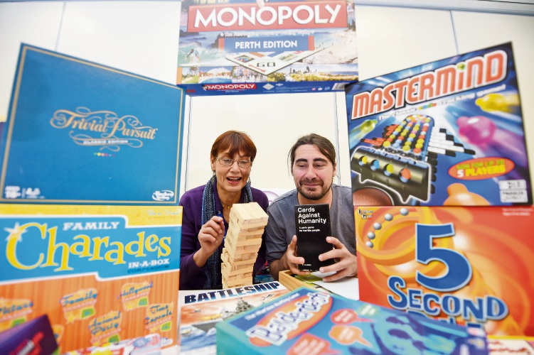 Victoria Park Community Centre manager Nicky Macdougall and board game night host Rob Burns are encouraging people to come to the event.