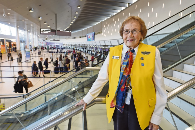 Como resident Marguerita Pawle loves the atmosphere at Perth Airport. Picture: Jon Hewson.