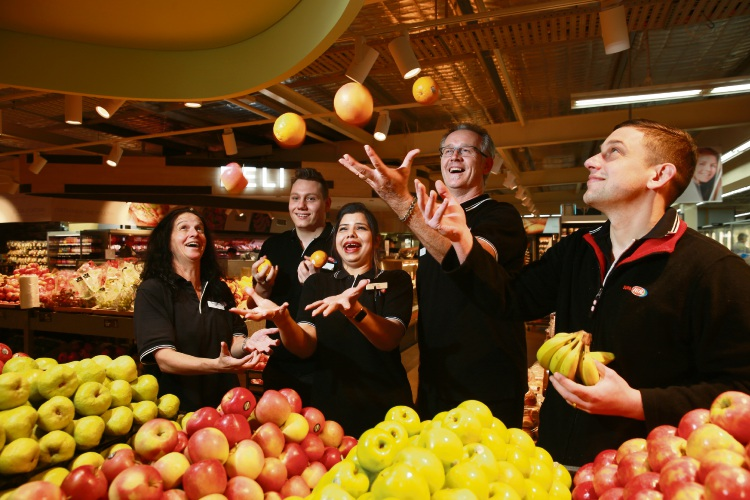 L-R Sue Campbell (Deli Manager), Jye Reed (Store Manager), Vineeta Sharma (Night Fill Manager), Neville Butt (Grocery Manager) and Shane Knapp (Dairy Manager) Award winning staff from IGA in Wembley. Photo: Andrew Ritchie